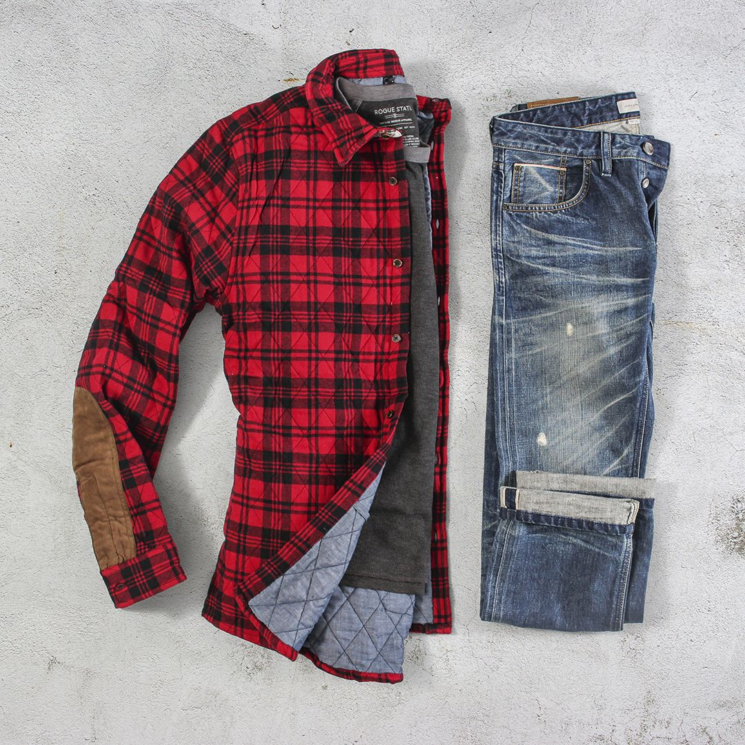 Red flannel and jeans  Pin by Al Thompson on Menus Fashion  Pinterest  Mens fashion