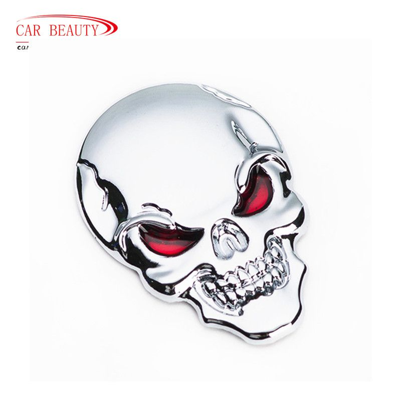 Car decoration motorcycle sticker 3d cool metal skull car sticker motorcycle truck emblem car styling accessories