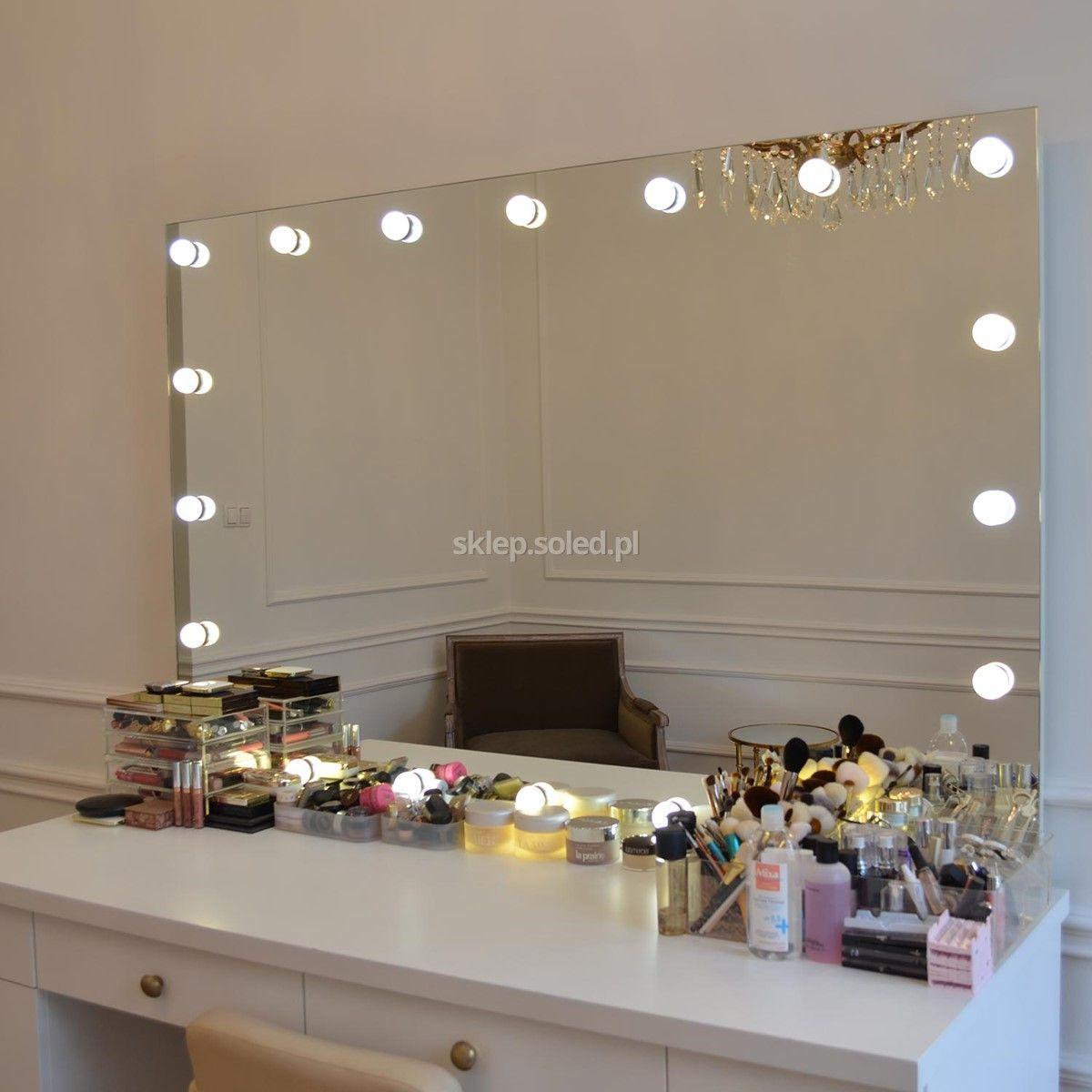 Modish Lustro z żarówkami LED 90x80cm | dom | Mirror, Home Decor i LED CF79