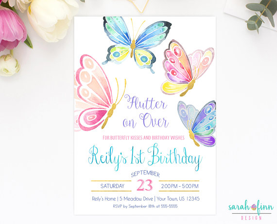Butterfly Invitation Birthday Party Invite First B