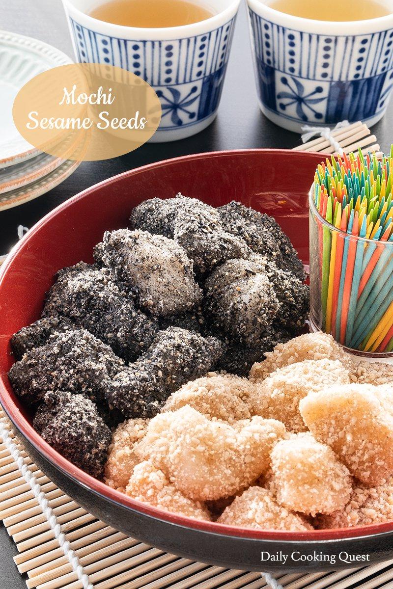 mochi sesame seeds recipe in 2020 asian desserts mochi chicken spices pinterest