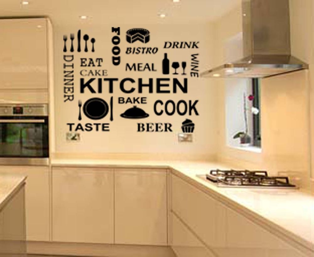 LARGE Kitchen words Wall Quote Stickers Cake Cafe Vinyl Art Decals ...