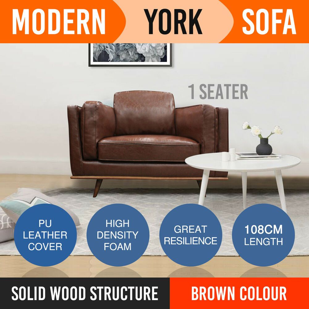New 1 Seater Sofa Couch Brown Leatherette High Density Foam Wooden Frame York Leather Sofa Set Chair Covers Slipcover Gorgeous Sofas
