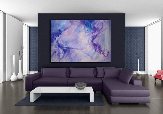 Oversize abstract art canvas or paper giclee print of pastel painting in blue purple periwinkle by kauai hawaii fine artist donia lilly