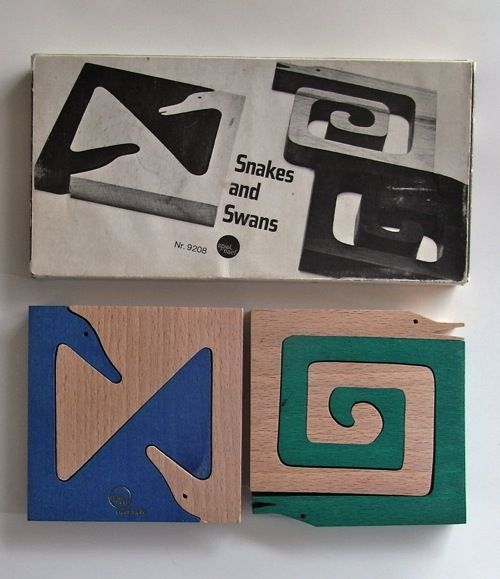 Snakes and Swans puzzles. Designed by Fredun Shapur and made in Switzerland by Spiel-Naef for Creative Playthings.  Via Stopping Off Place