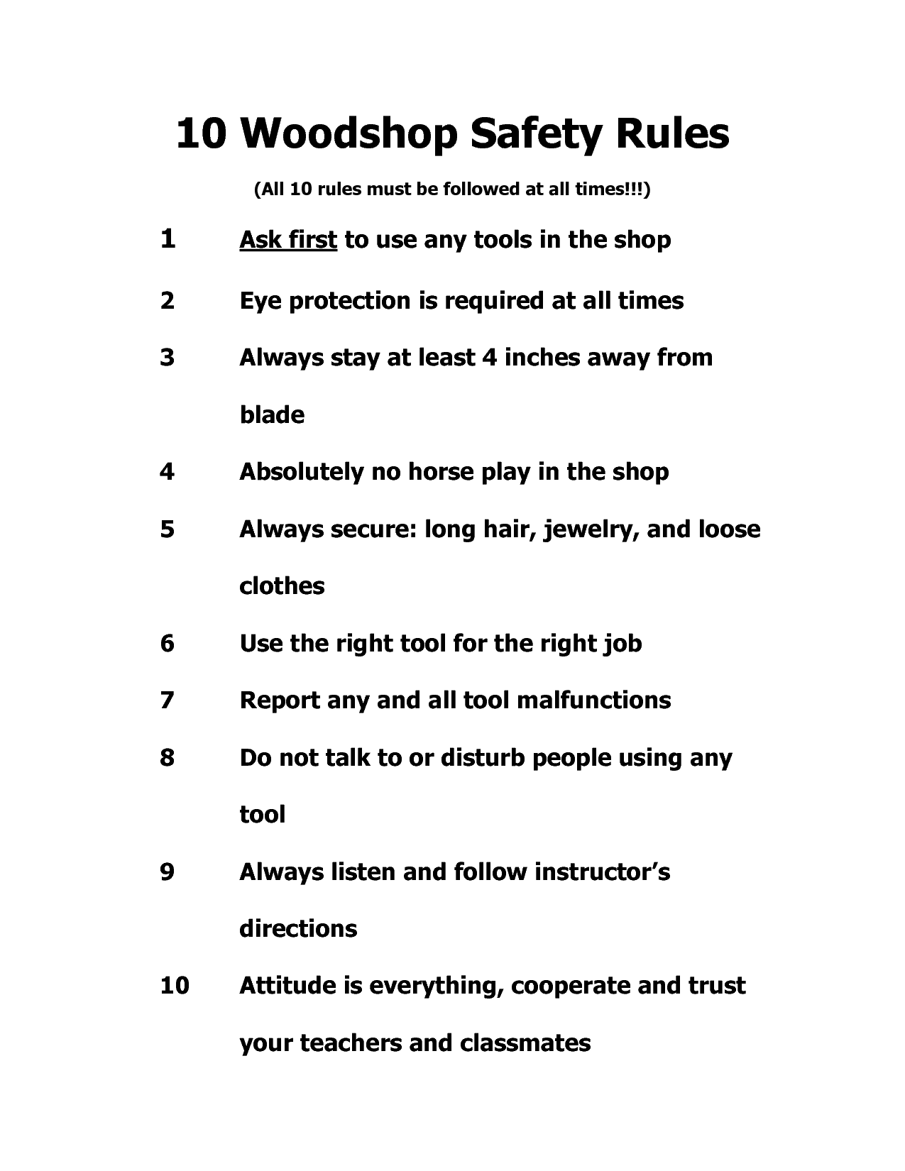 Woodshop Safety Rules When Someone Plan To Learn