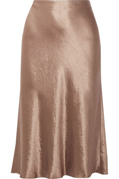 51117a09e949 Vince's midi skirt is cut from washed-satin that's unlined to enhance its  fluidity and movement. This chocolate style is cut to sit high on the waist  and ...