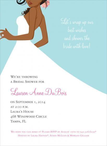 Bridal Side Bali African American Wedding Invitations