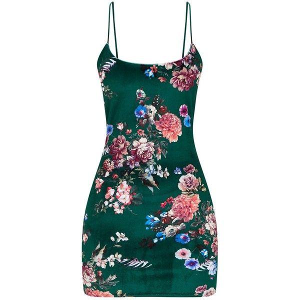 f8e168f8f5e1 Green Floral Velvet Square Neck Spaghetti Strap Bodycon Dress ($32) ❤ liked  on Polyvore featuring dresses, green floral dress, green dress, ...