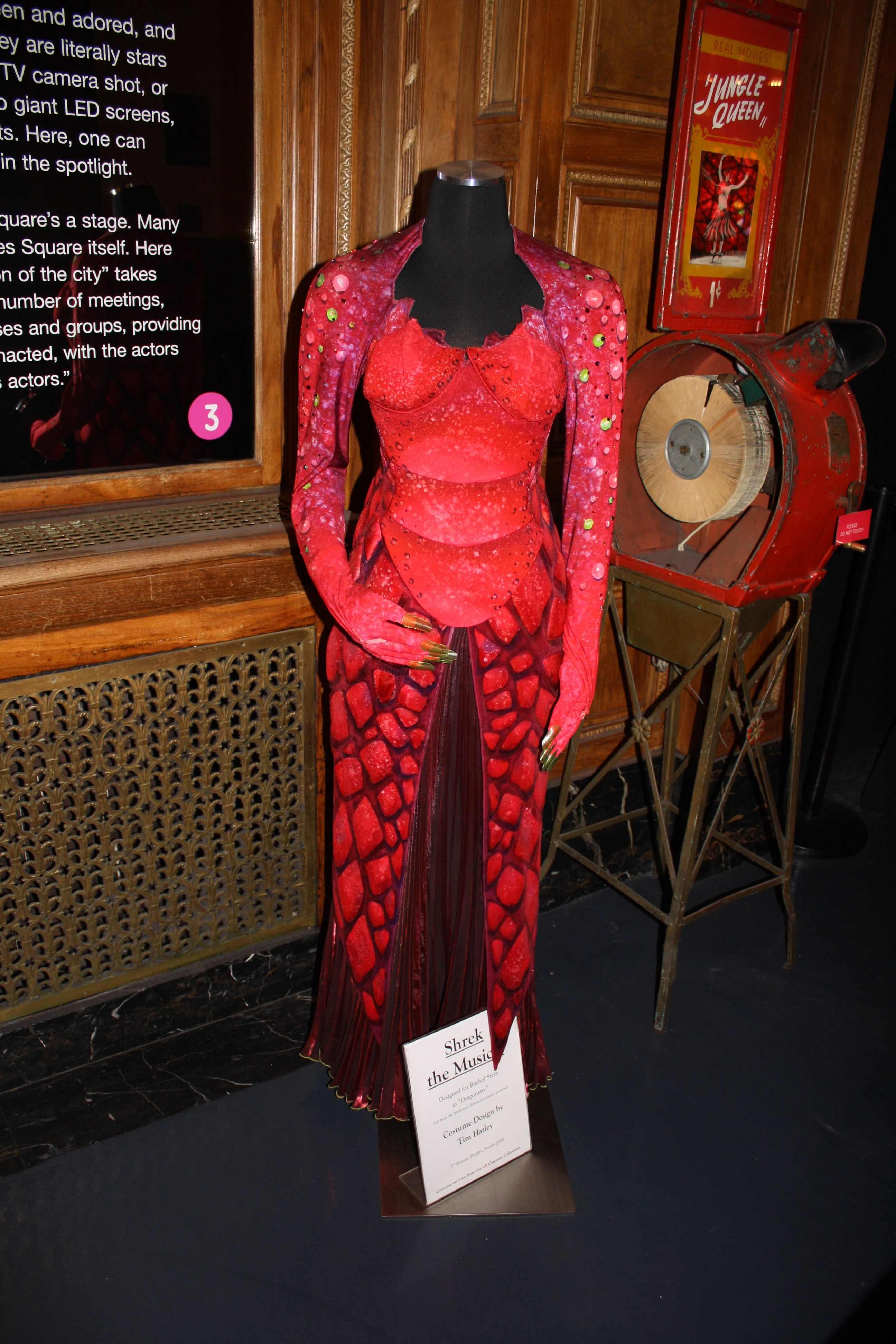 """Dragonette's costume from """"Shrek the Musical."""" Designed by Tim Hatley for Rachel Stern. This costume was cut from the production during out-of-town previews. Photo Credit: TDF Costume Collection"""