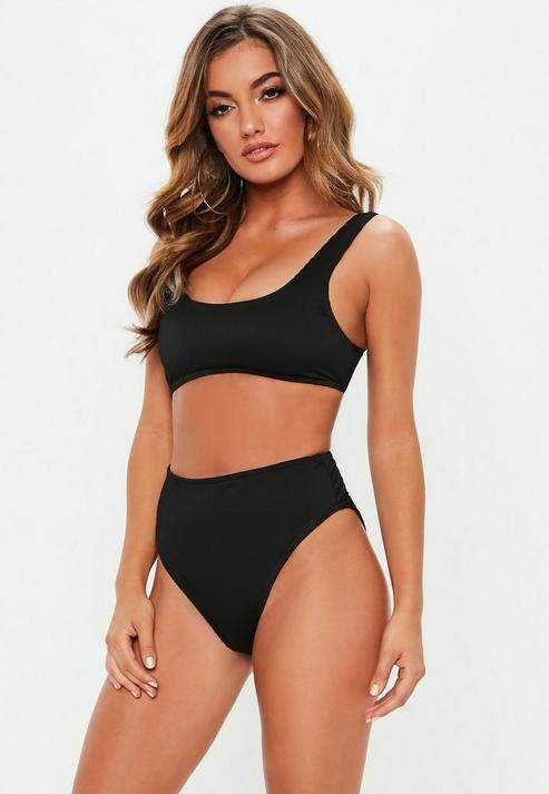 ad2fa8eb49c66 Missguided Black Rib Mix And Match Scoop Neck Bikini Top in 2019 ...