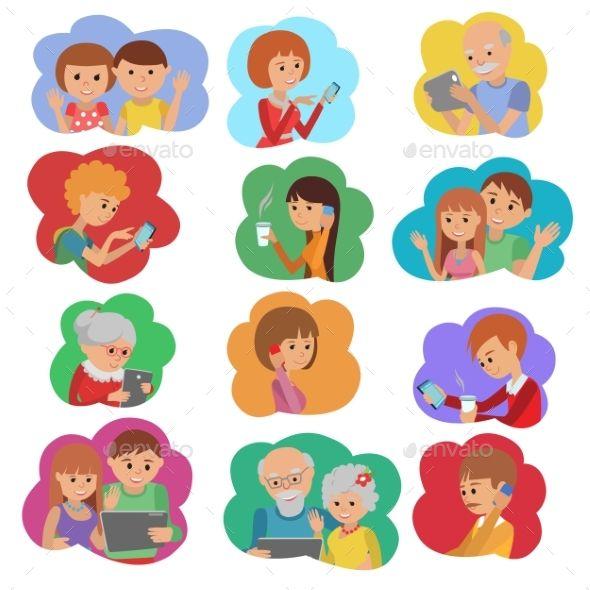 Vector Illustration Set Of People Social Media