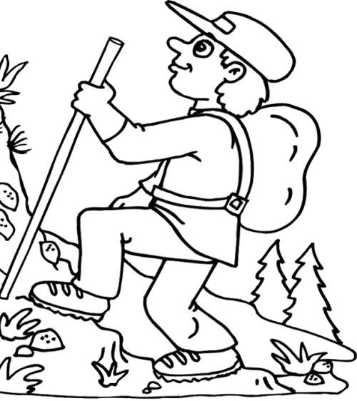 Hiking The Mountain In Summer Coloring Pages