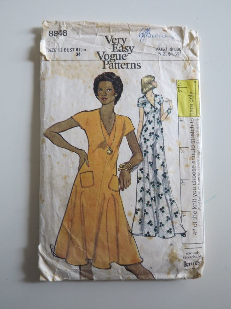 Vintage Vogue sewing pattern 8848 size 12 flared knit dress maxi ...