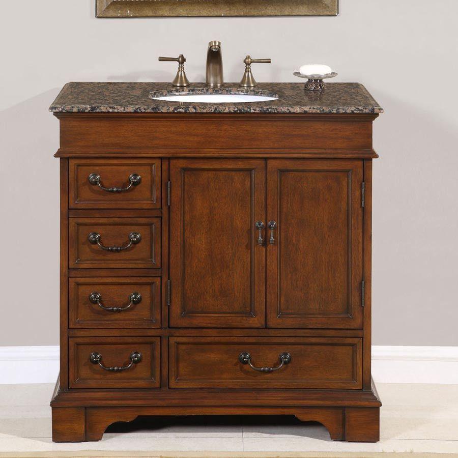 Silkroad Exclusive 36 Ashley Single Sink Vanity Set With Granite Top Hyp 0212