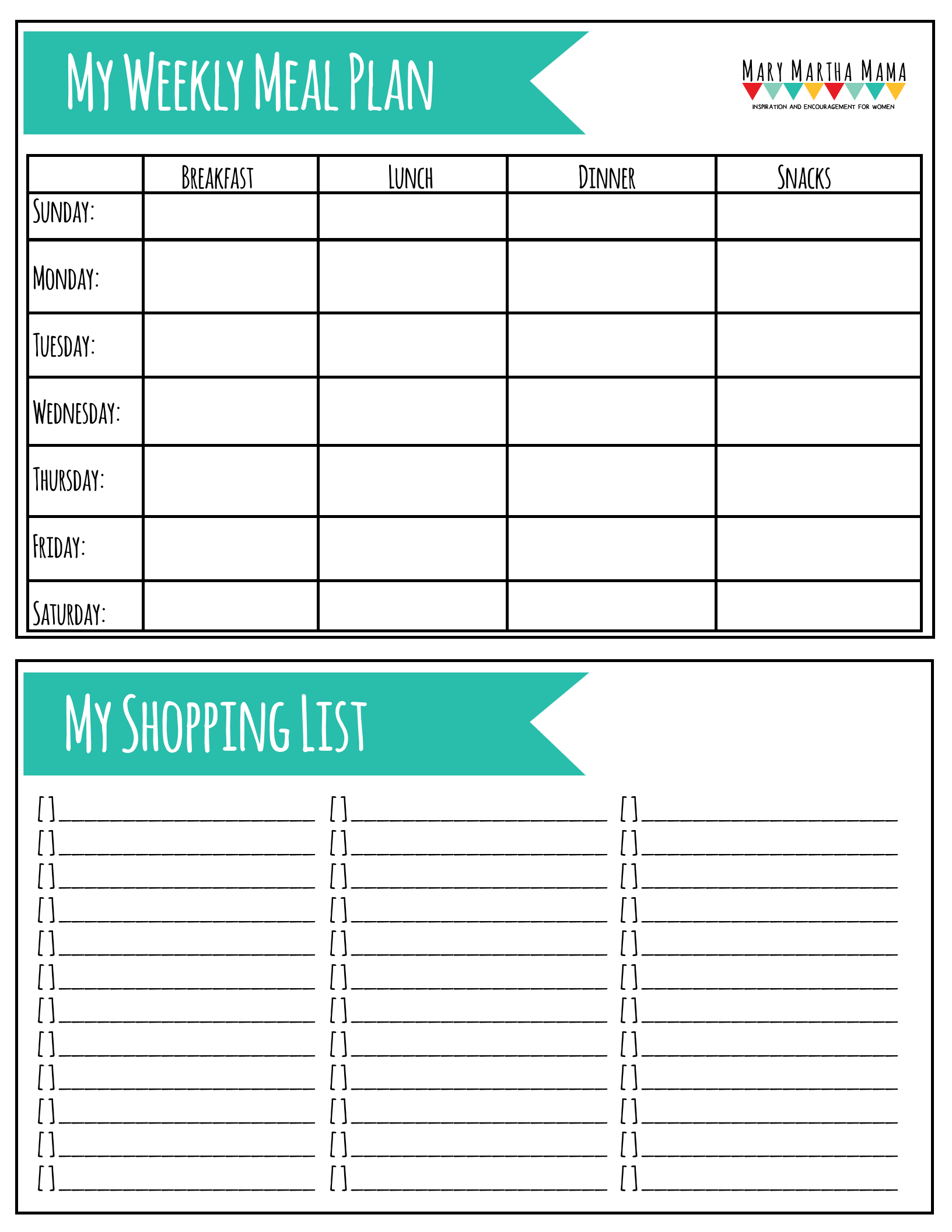 Printable Meal Plan Worksheet