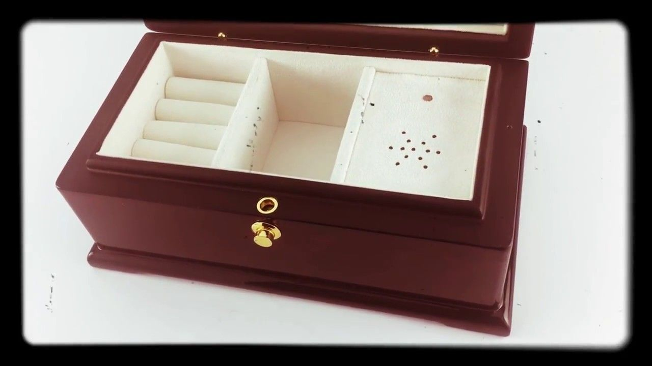 Exquisite Wooden Musical Jewelry Box Install Custom Song
