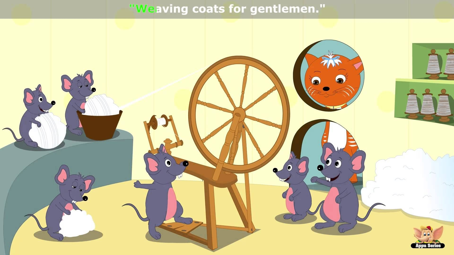 Six Little Mice Sat Down To Spin Nursery Rhyme With Karaoke Nursery Rhymes Kids Nursery Rhymes Rhymes