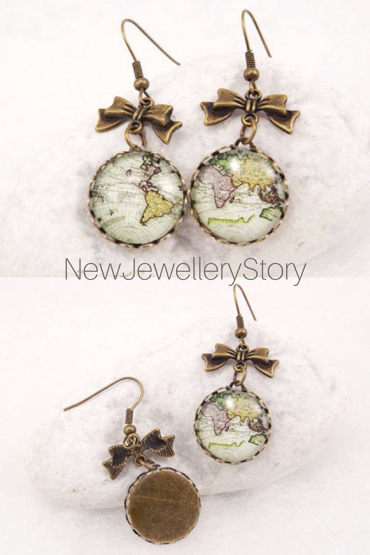Antique map earrings world map earrings vintage world map jewelry antique map earrings world map earrings vintage world map jewelry globe earrings traveler continents retro earrings gumiabroncs Choice Image