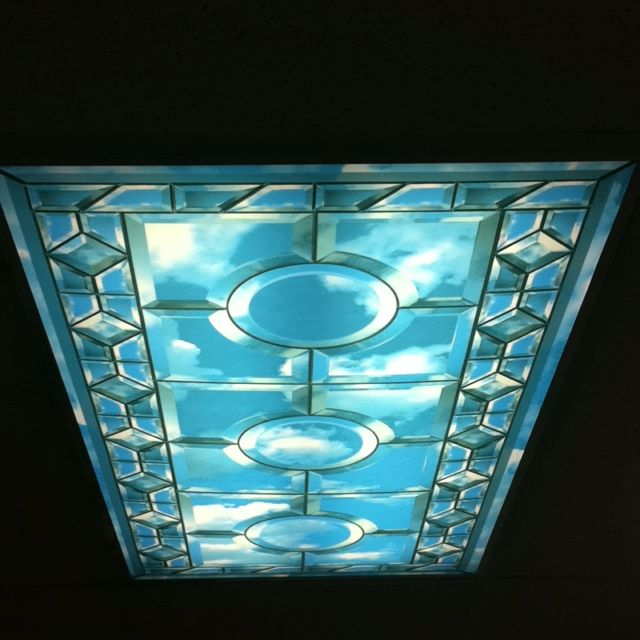 awesome fluorescent light cover at the dentist good idea for the bright lights in my office