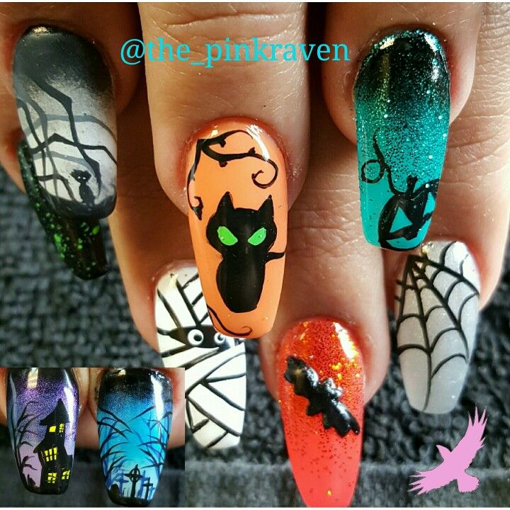 Hand painted nail art Halloween Halloween nails detailed nail art ...