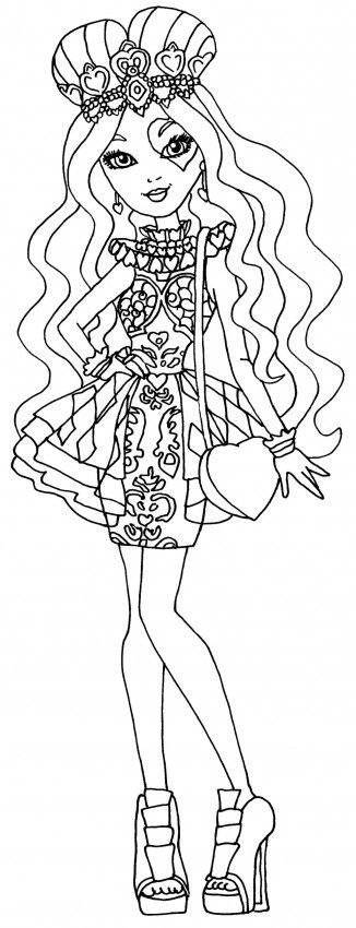 ever after high coloring pages lizzie hearts - Ever After High Coloring Book