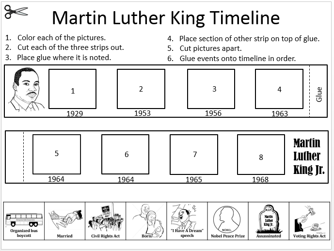 Printables Dr Martin Luther King Worksheets martin luther king jr timeline cut and paste freebiei am pleased week using brain pop video clip