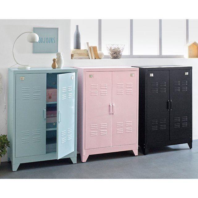 Armoire Basse 2 Portes En Metal Hiba Mobilier De Decoration Decoration Chambre Ado Armoire