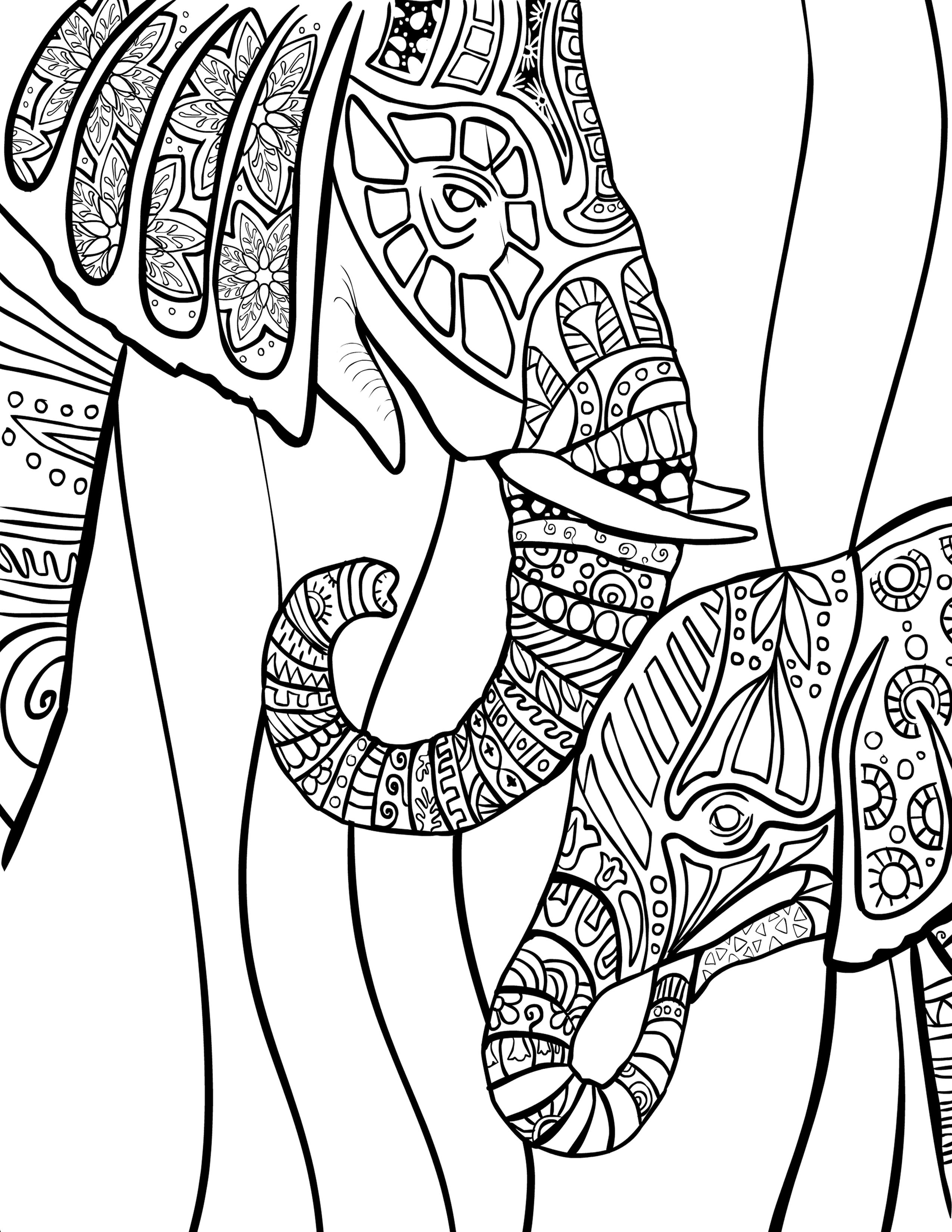 Elephant coloring pages free - Gorgeous Elephants Coloring Page Free Download Selah Works