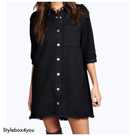 dd1cb3a2d3963 Boohoo Jade Denim Fringed Shirt Dress