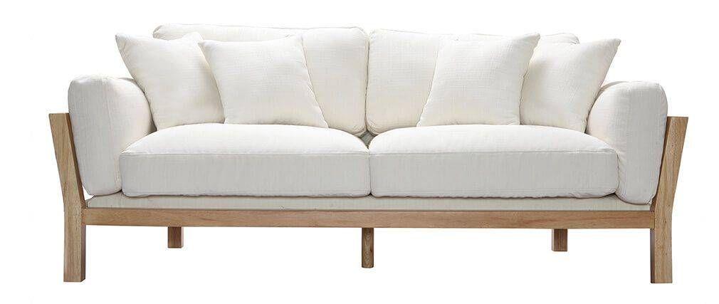 Sof dise o 3 plazas blanco crema patas madera kyo sofa cama pinterest Sofas de diseno baratos