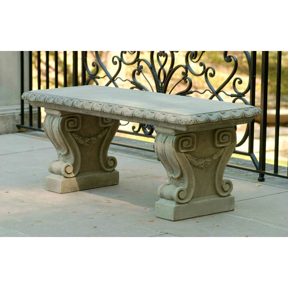 Longwood Main Fountain Bench For English Countryside Or Cottage Garden With  Beautiful Raised Pattern In Legs. Cast Stone Patio Furniture, ...