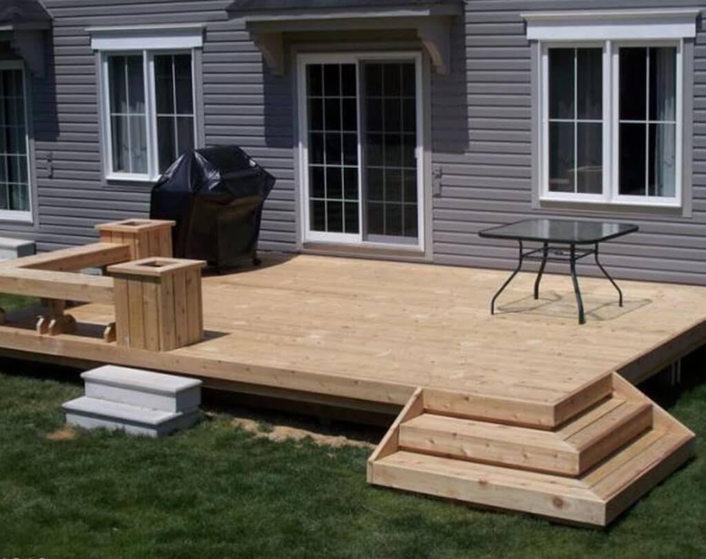 Simple Raised Wooden Deck Design Ideas Small Backyard Decks