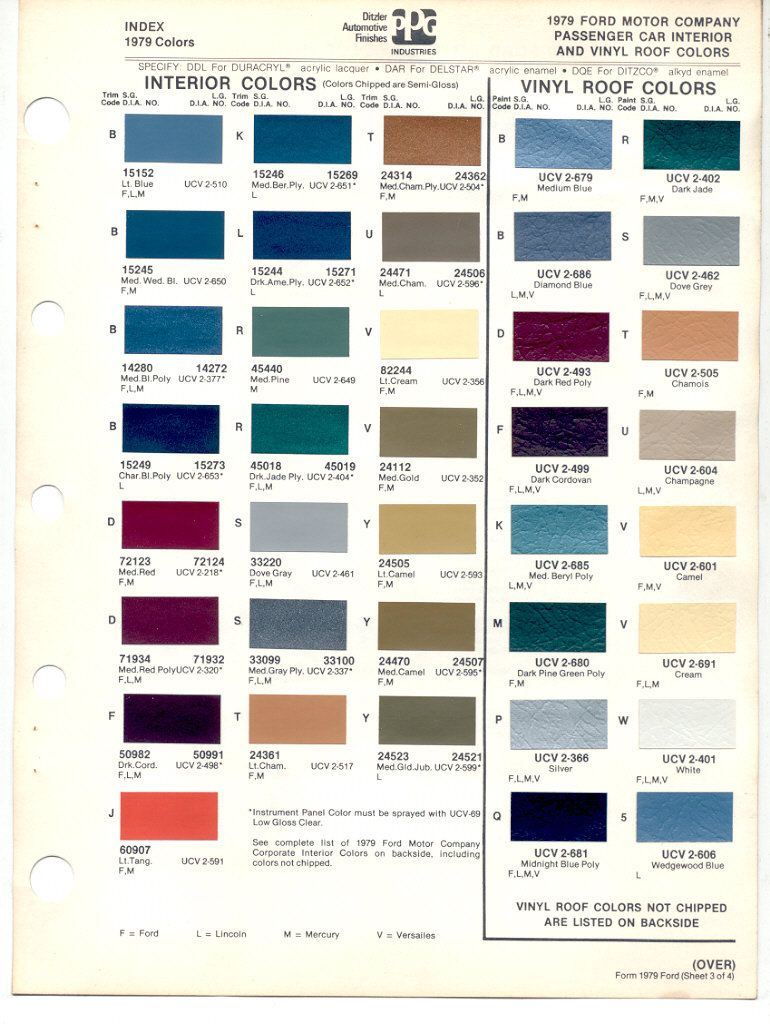 1979 Lincoln Continental Models Lineup Color Code Reference Guide