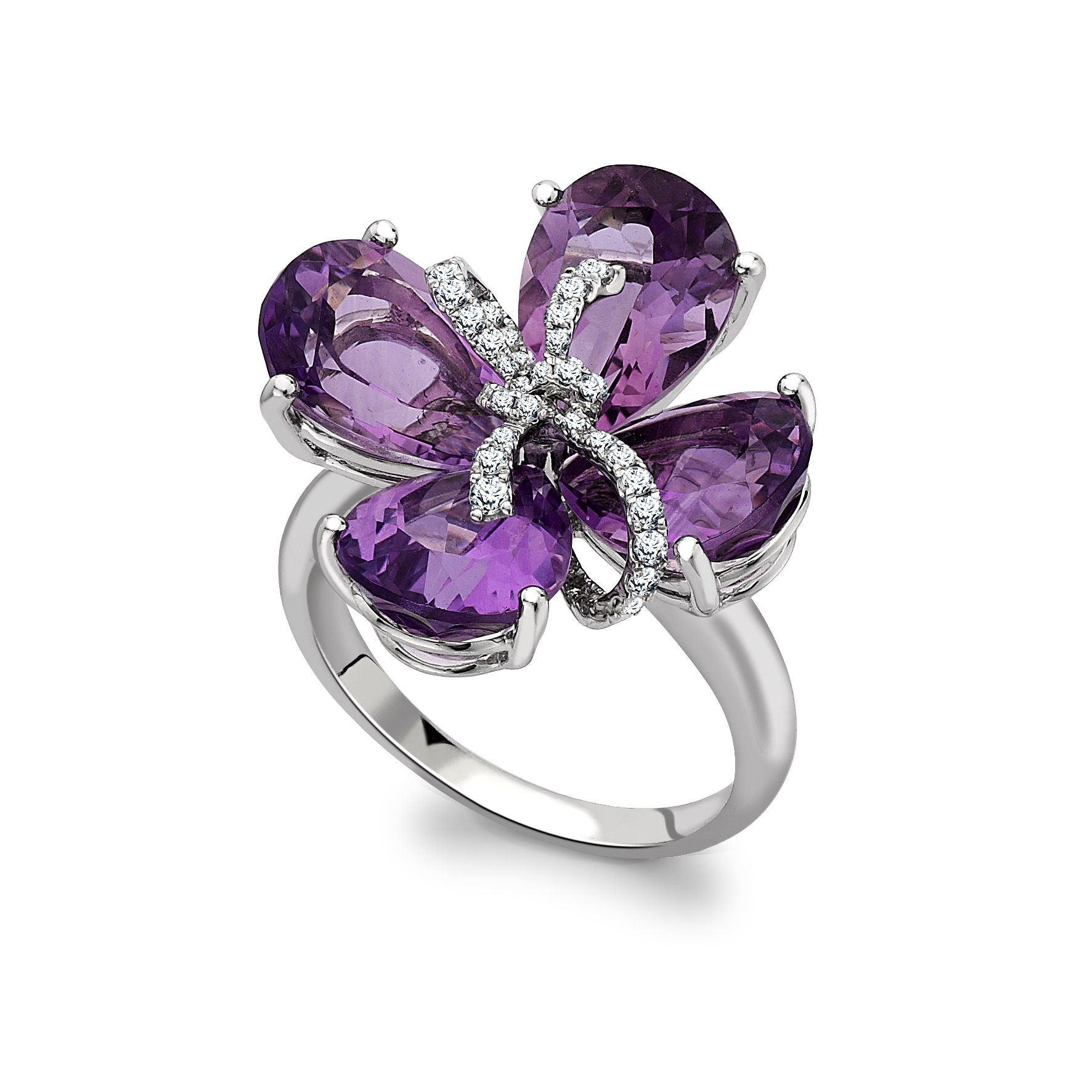 Black Flower Bow With Diamond: Glowing Amethyst Petals Intertwined
