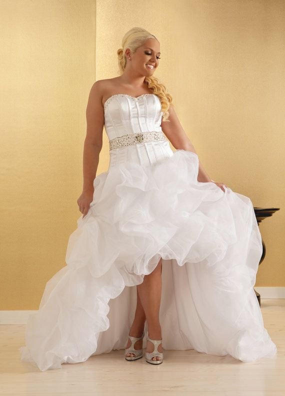 Plus Size Wedding Gown Sexy High Low Design Boned By Realsizebride