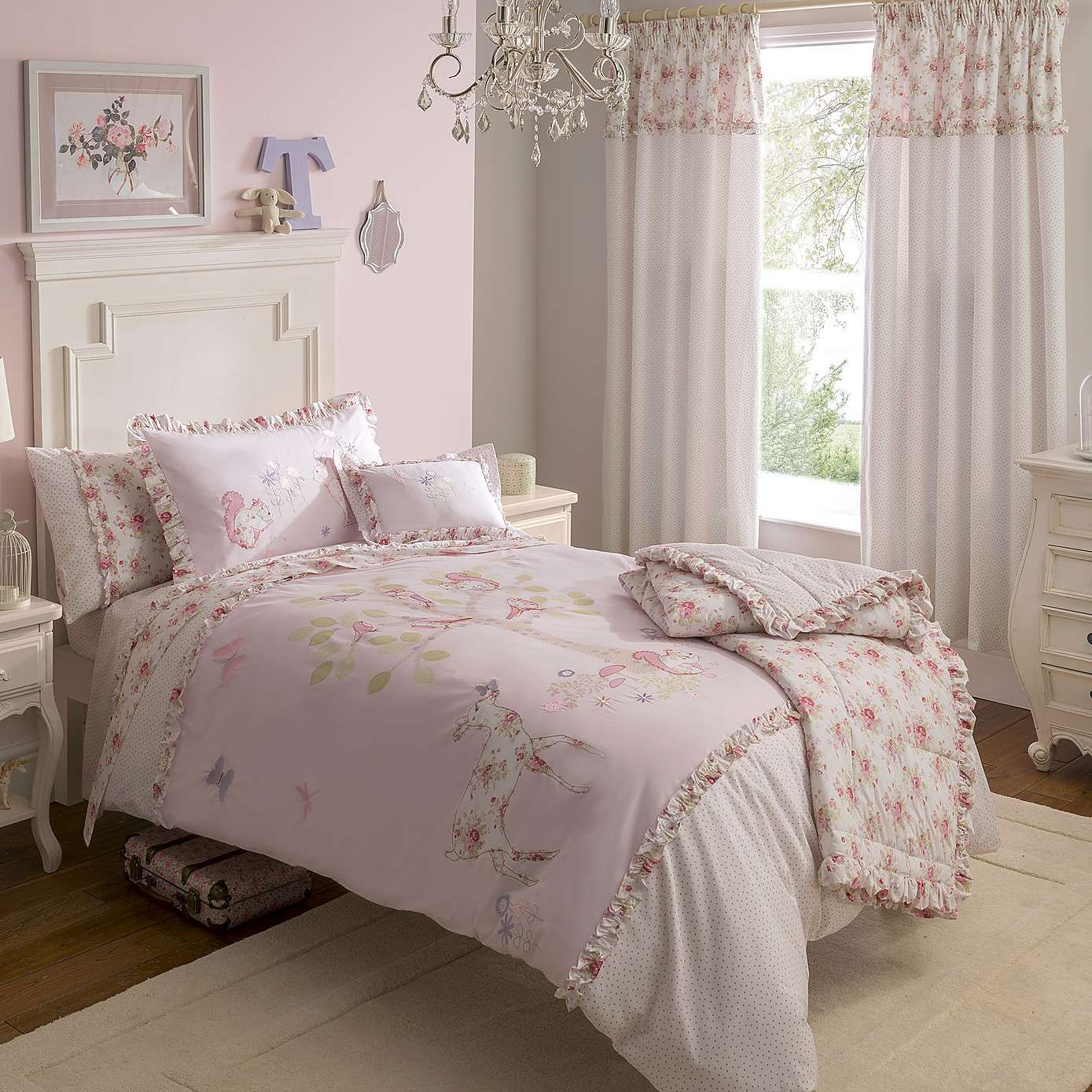 Dorma Woodland Pink Duvet Cover and Pillowcase Set