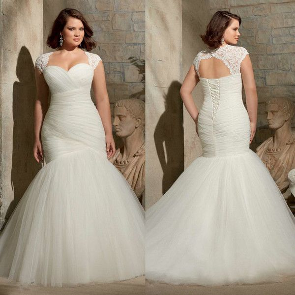 2017 Plus Size Mermaid Wedding Dresses For Curvy Brides Sale Cheap 2016 Two Piece With Detachable Lace Fit And Flare Simple Bridal Gowns Red Mermaid Wedding Dre Plus Size Wedding Gowns