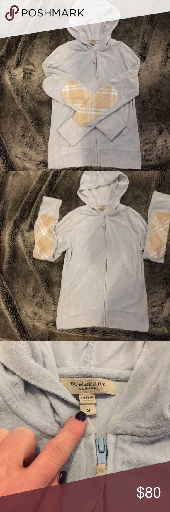 Women s Burberry terry cloth zip up hoodie Burberry women s terry cloth zip  up hoodie with plaid elbow patches. Size small. Gently loved! 849ac4df7