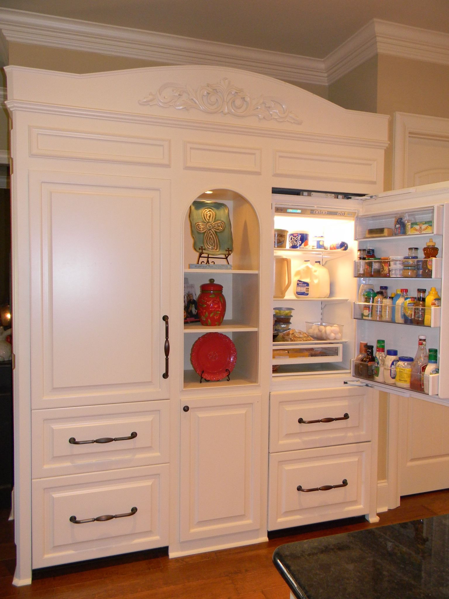 Custom Fridge Built To Look Like Furniture Sub Zero Separate Units