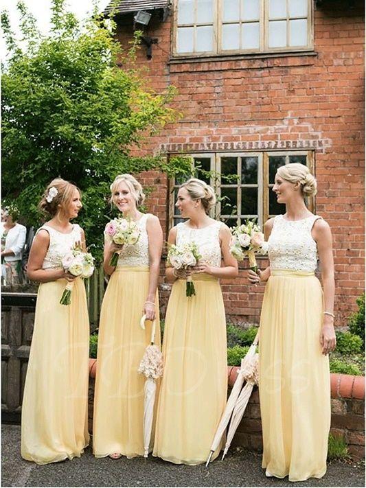 Weiß Gelbe Brautjungfernkleider Mit Spitze Lang Kleider Für