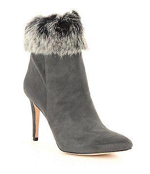 6c48327bcc2 Antonio Melani Kylan Kidsuede Leather Rabbit Fur Dress Booties