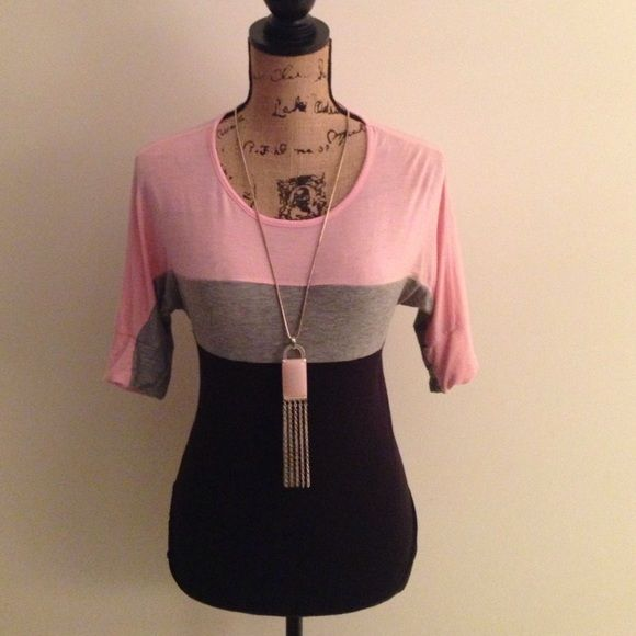 JERSEY KNIT PINK, GREY & BLACK TOP Comfy summer top! Necklace not included ✨ Tops Blouses