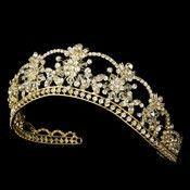 Sparkling Rhinestone & Swarovski Crystal Covered Tiara in Gold HP 523