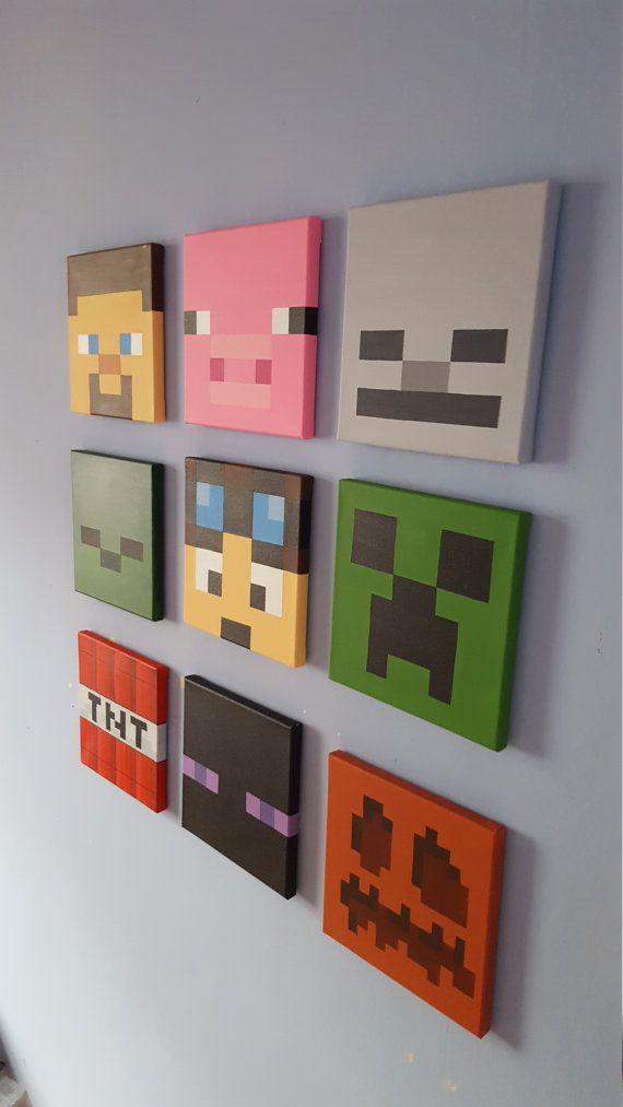 minecraft wall art set of 9 canvases small 8 x 8 schlafzimmer wand minecraft und schweinchen. Black Bedroom Furniture Sets. Home Design Ideas