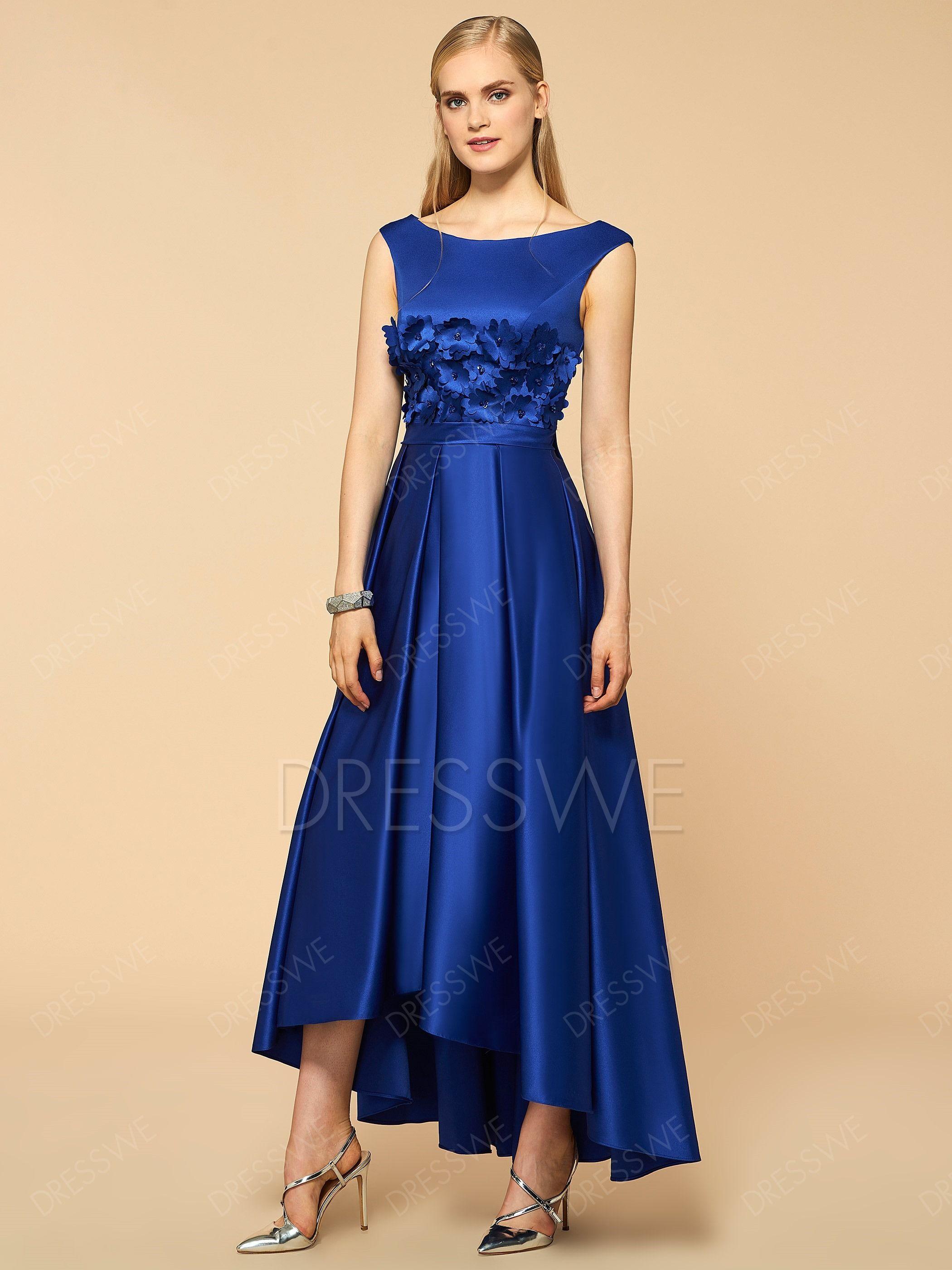 dresswe supplies scoop flower high low bridesmaid dress
