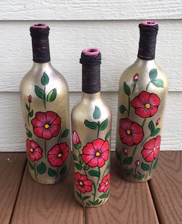 Anarghya S Instagram Profile Post Aa4 Bottleart Bottlepainting Bottledesign In 2020 Glass Bottles Art Hand Painted Wine Bottles Bottle Art