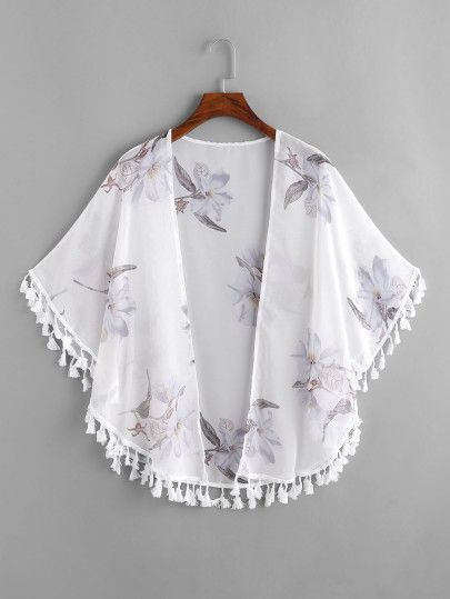 4cfd4b11ca Shop Floral Print Fringe Trim Kimono online. SheIn offers Floral Print  Fringe Trim Kimono & more to fit your fashionable needs.