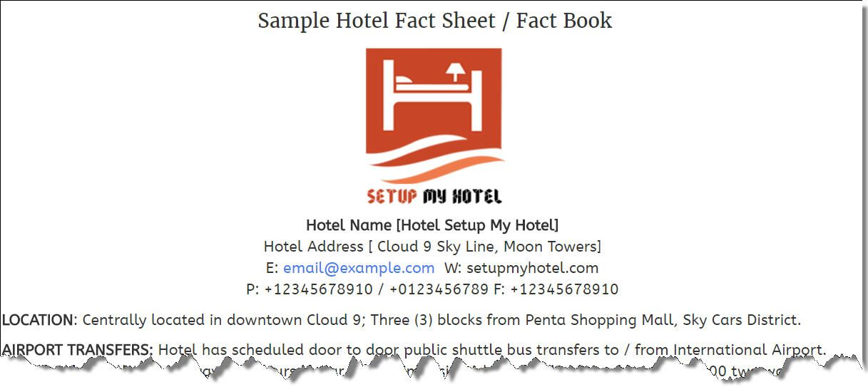 Sample Property Fact Book, Hotel Fact Sheet Sample, Hotel