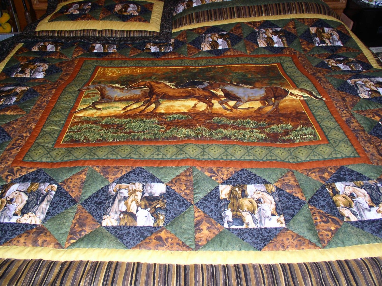 Western Horse Quilt Western Bedding Cabin Quilt Horse